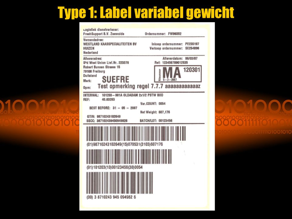 Type 1: Label variabel gewicht
