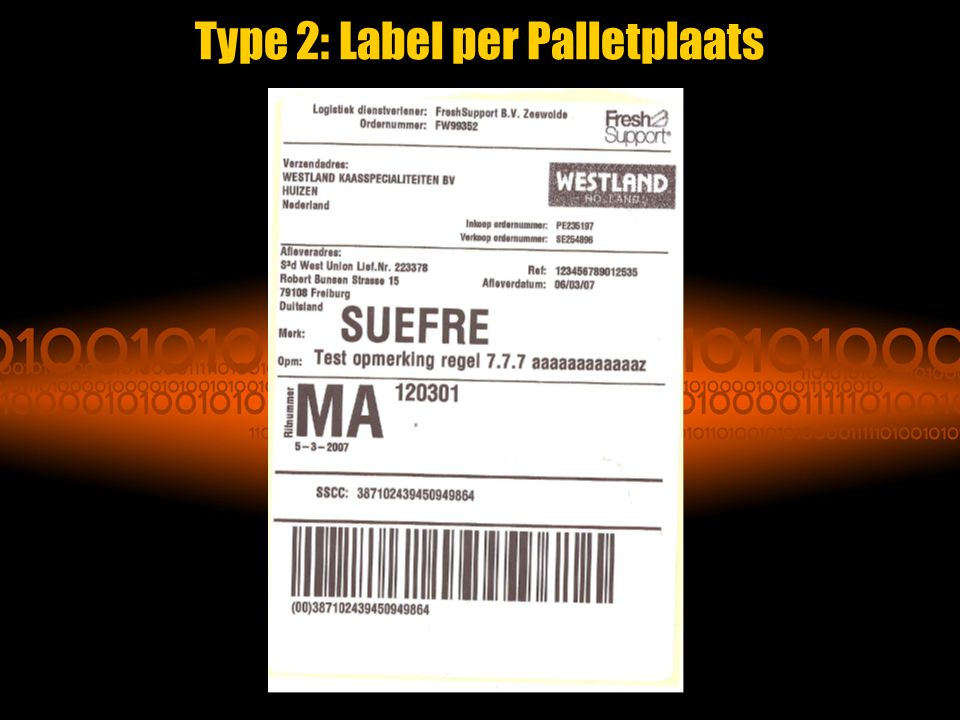 Type 2: Label per Palletplaats