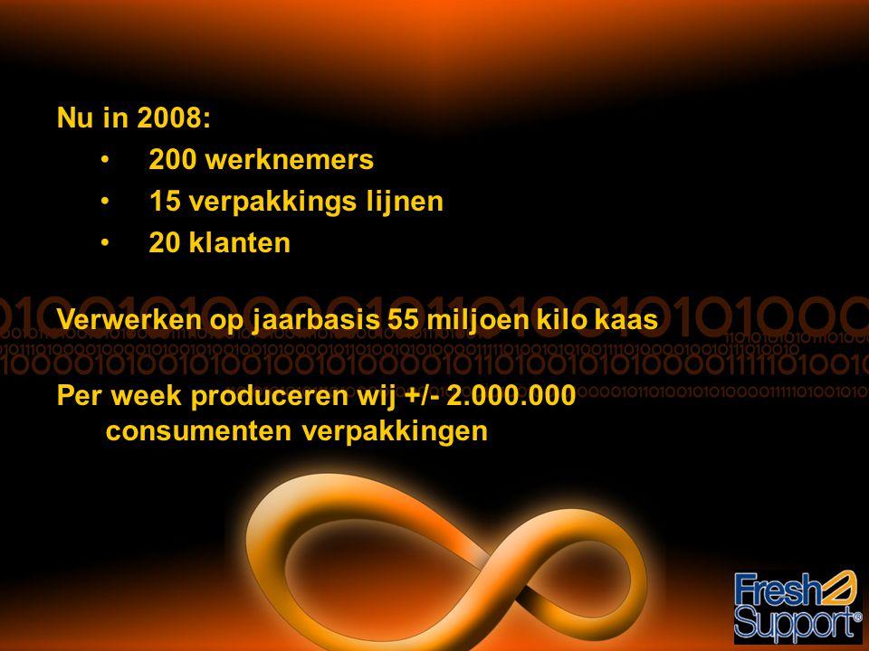 Nu in 2008: 200 werknemers. 15 verpakkings lijnen. 20 klanten. Verwerken op jaarbasis 55 miljoen kilo kaas.