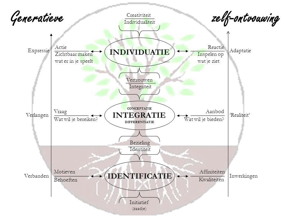 Generatieve zelf-ontvouwing INDIVIDUATIE INTEGRATIE IDENTIFICATIE