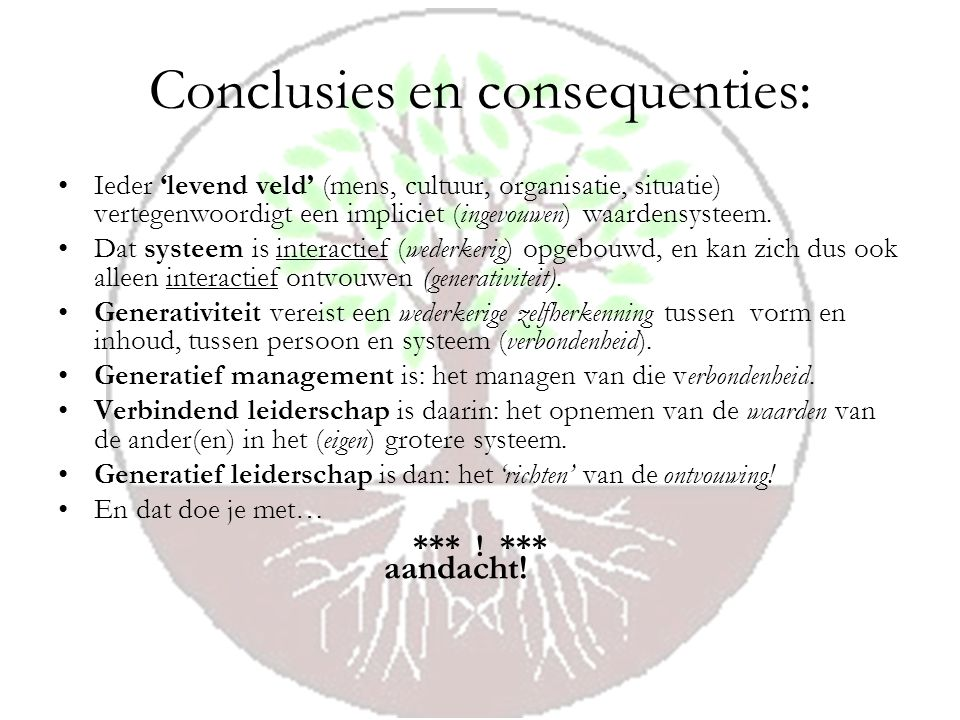 Conclusies en consequenties: