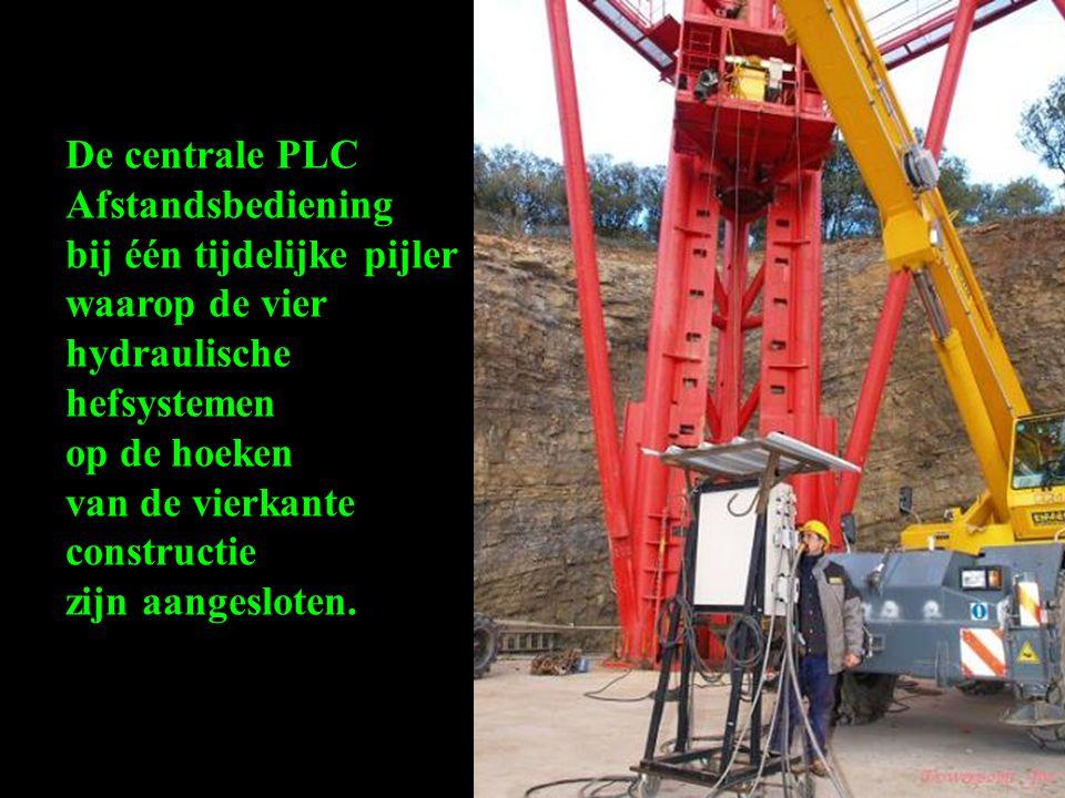 De centrale PLC Afstandsbediening. bij één tijdelijke pijler. waarop de vier. hydraulische hefsystemen.