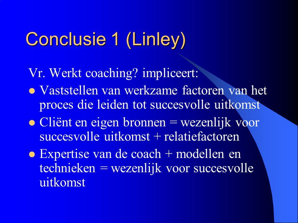 Conclusie 1 (Linley) Vr. Werkt coaching impliceert: