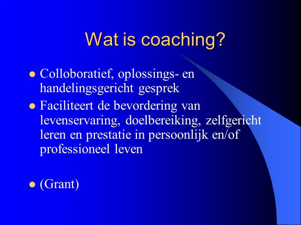 Wat is coaching Colloboratief, oplossings- en handelingsgericht gesprek.