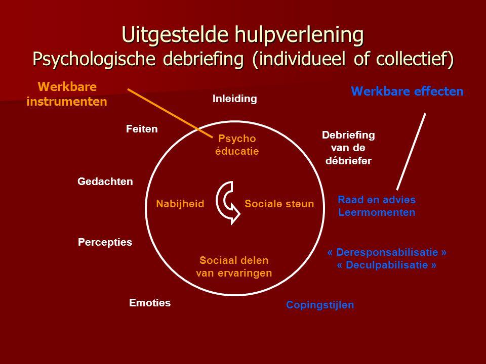 Uitgestelde hulpverlening Psychologische debriefing (individueel of collectief)