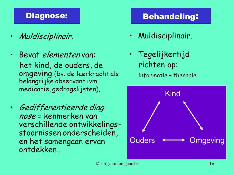 Diagnose: Behandeling: Muldisciplinair. Bevat elementen van: