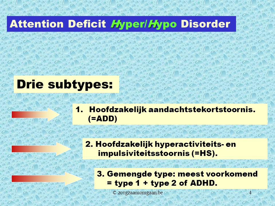 Drie subtypes: Attention Deficit Hyper/Hypo Disorder