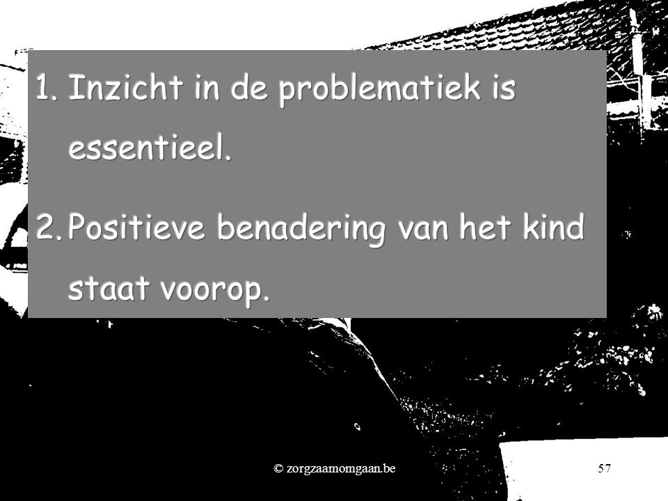 Inzicht in de problematiek is essentieel.