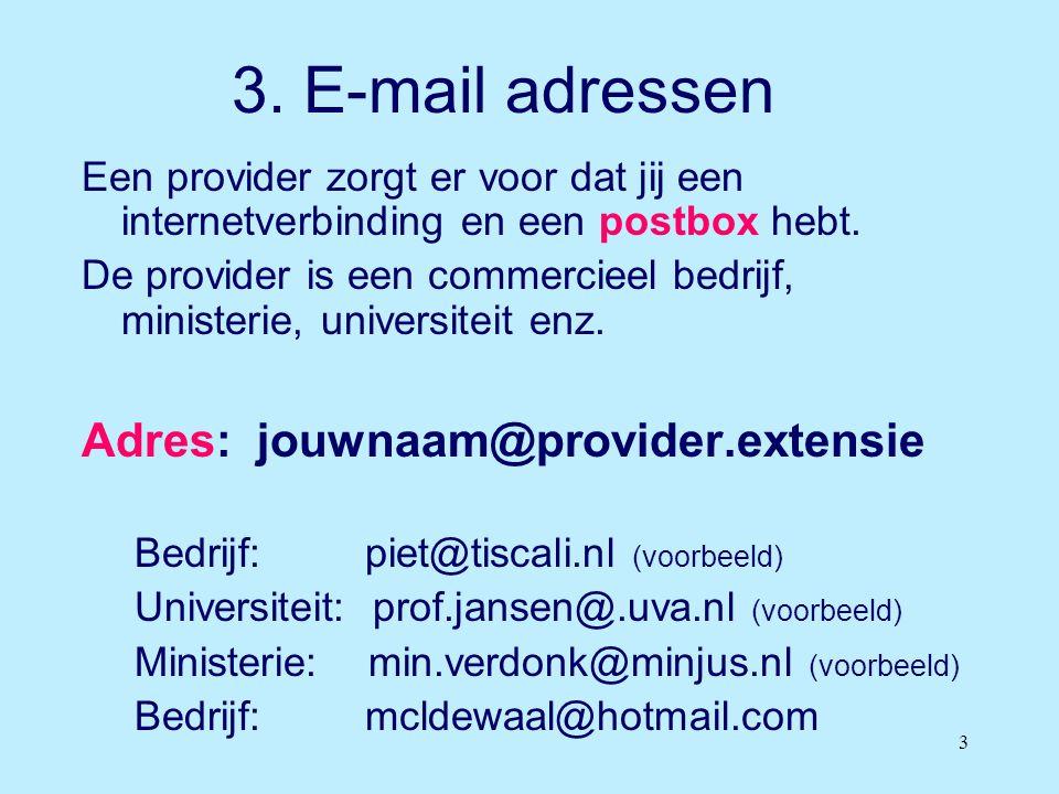 3. E-mail adressen Adres: jouwnaam@provider.extensie