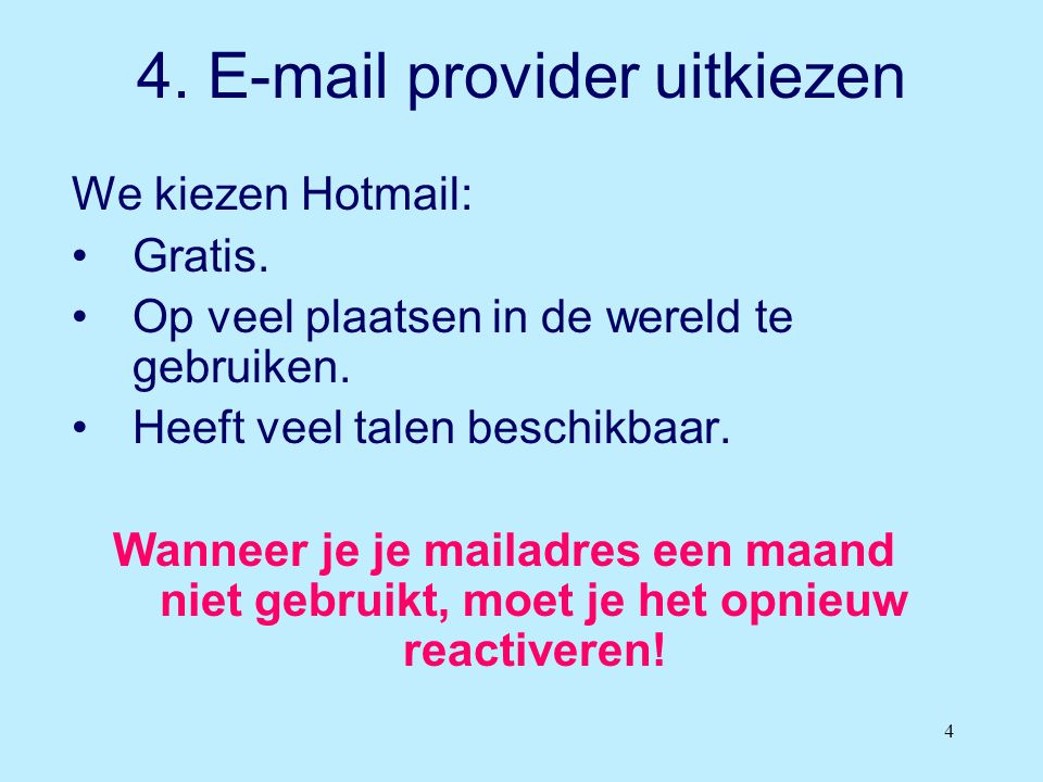 4. E-mail provider uitkiezen