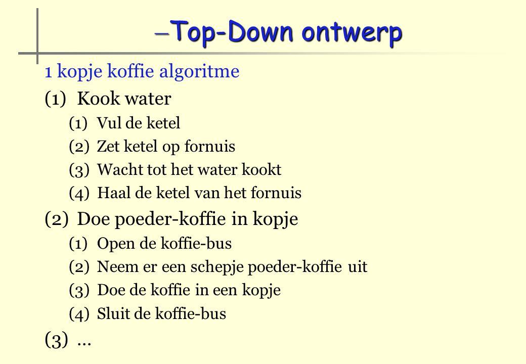 Top-Down ontwerp 1 kopje koffie algoritme Kook water