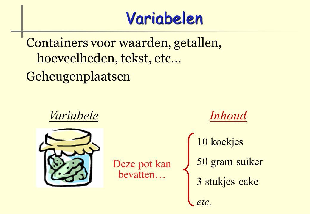 Variabelen Containers voor waarden, getallen, hoeveelheden, tekst, etc… Geheugenplaatsen. Deze pot kan bevatten…