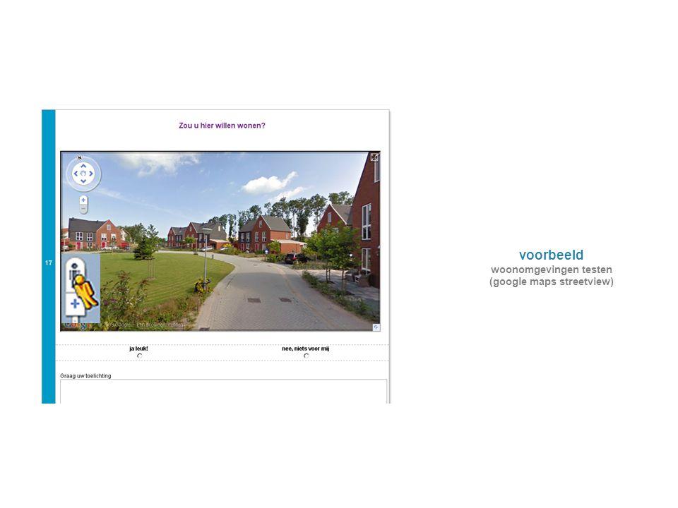 woonomgevingen testen (google maps streetview)
