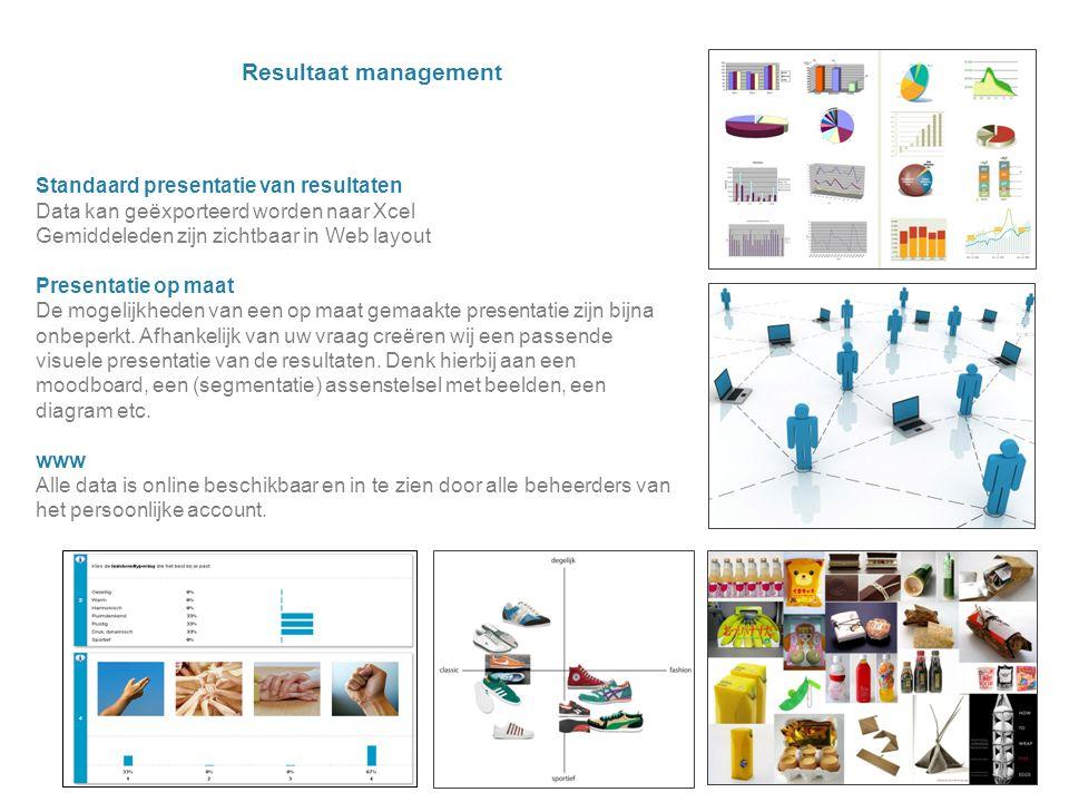 Resultaat management Standaard presentatie van resultaten