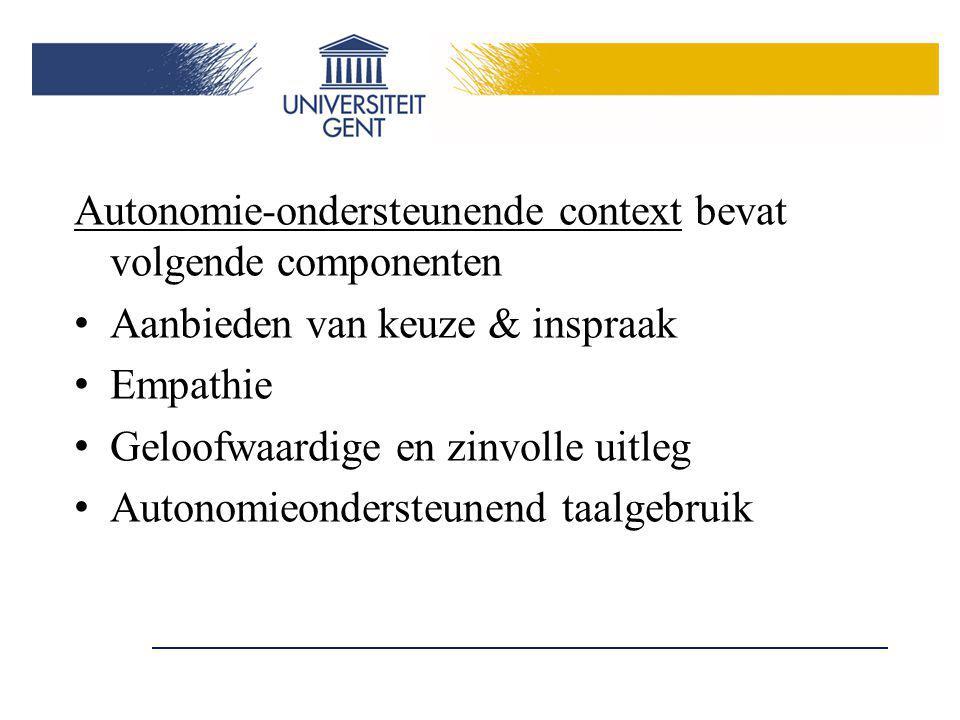 Autonomie-ondersteunende context bevat volgende componenten