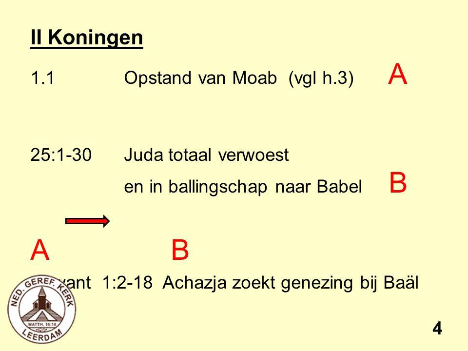 A B II Koningen 1.1 Opstand van Moab (vgl h.3) A