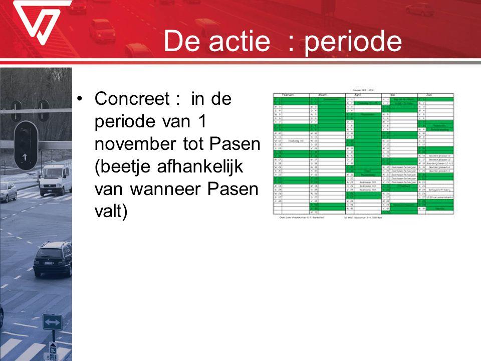 De actie : periode Concreet : in de periode van 1 november tot Pasen (beetje afhankelijk van wanneer Pasen valt)