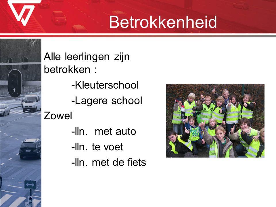 Betrokkenheid Alle leerlingen zijn betrokken : -Kleuterschool -Lagere school Zowel -lln.