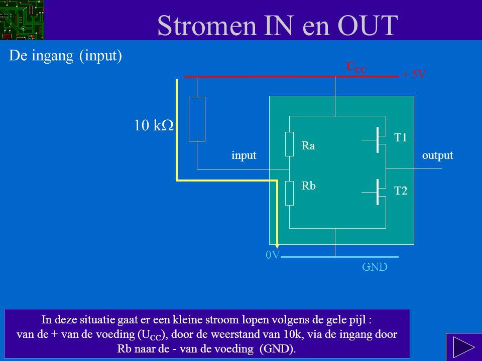 Stromen IN en OUT De ingang (input) 10 kW UCC + 5V T1 Ra input output