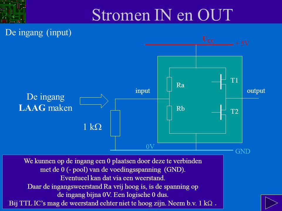 Stromen IN en OUT De ingang (input) De ingang LAAG maken 1 kW UCC + 5V