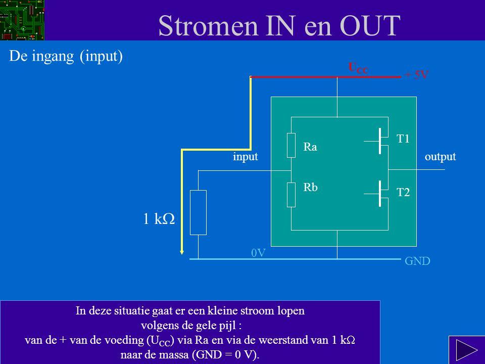 Stromen IN en OUT De ingang (input) 1 kW UCC + 5V T1 Ra input output