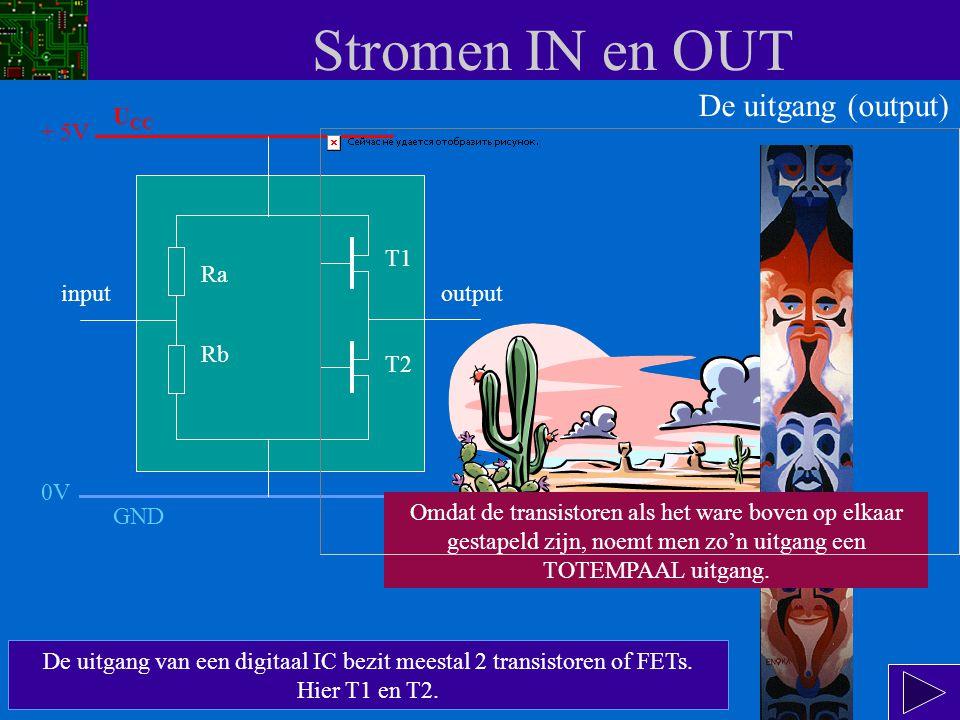 De uitgang van een digitaal IC bezit meestal 2 transistoren of FETs.