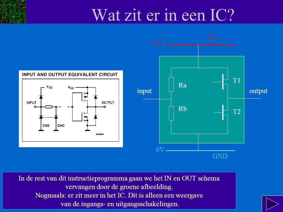 Wat zit er in een IC UCC + 5V T1 Ra input output Rb T2 0V GND