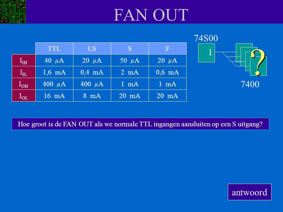 FAN OUT 74S00 1 7400 antwoord TTL LS S F IIH 40 mA 20 mA 50 mA 20 mA