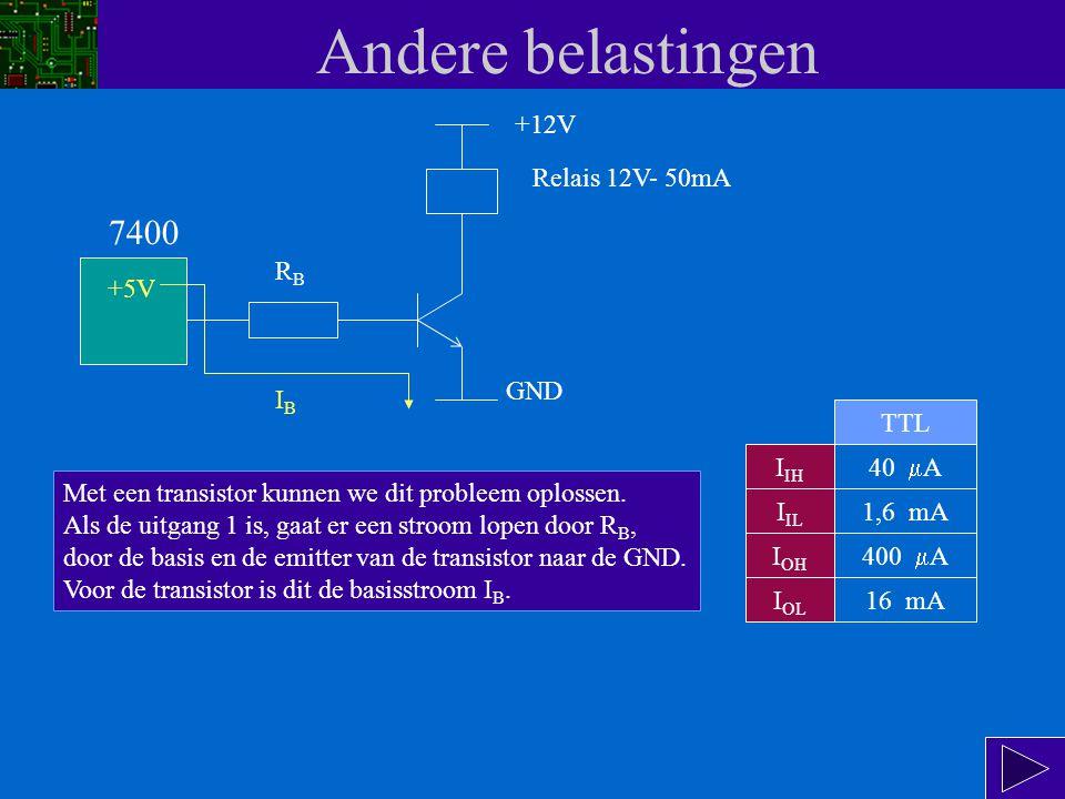 Andere belastingen 7400 +12V Relais 12V- 50mA RB +5V GND IB TTL IIH