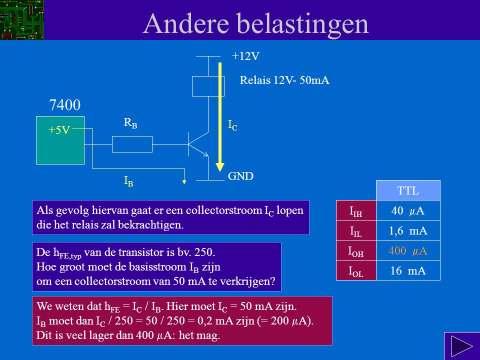 Andere belastingen 7400 +12V Relais 12V- 50mA RB IC +5V GND IB TTL