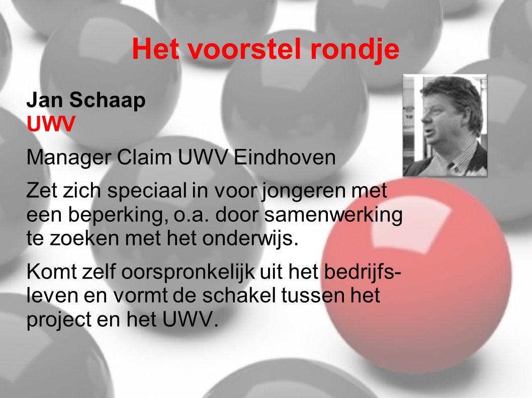Het voorstel rondje Jan Schaap UWV Manager Claim UWV Eindhoven