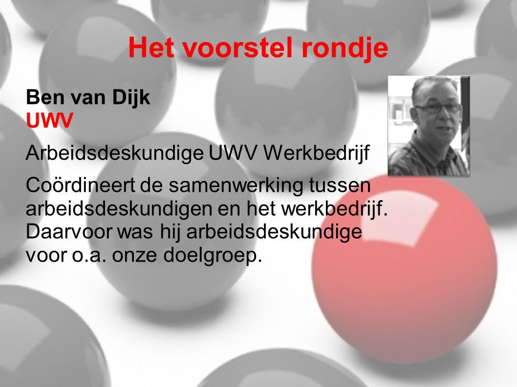 Het voorstel rondje Ben van Dijk UWV Arbeidsdeskundige UWV Werkbedrijf