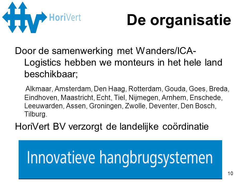 De organisatie Door de samenwerking met Wanders/ICA-Logistics hebben we monteurs in het hele land beschikbaar;