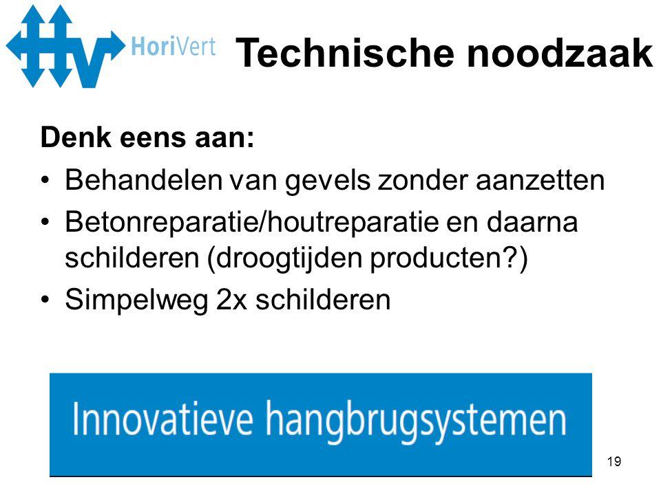 Technische noodzaak Denk eens aan: