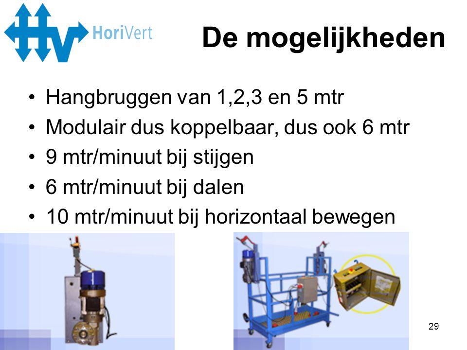 De mogelijkheden Hangbruggen van 1,2,3 en 5 mtr
