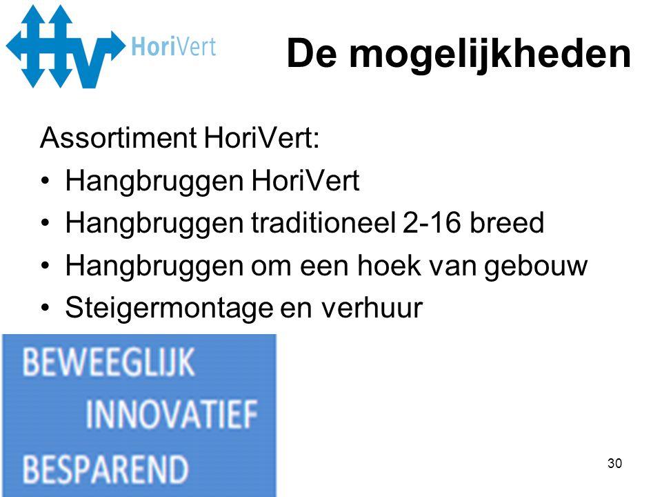 De mogelijkheden Assortiment HoriVert: Hangbruggen HoriVert