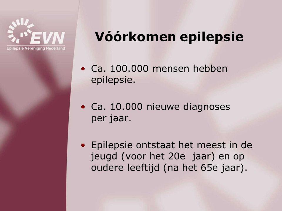 Vóórkomen epilepsie Ca. 100.000 mensen hebben epilepsie.