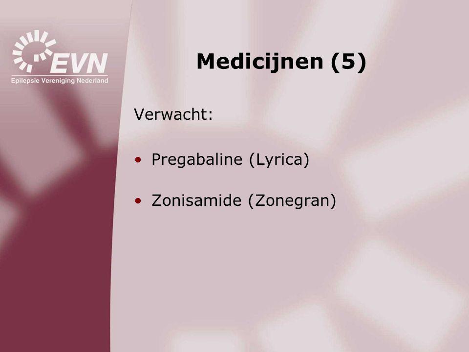 Medicijnen (5) Verwacht: Pregabaline (Lyrica) Zonisamide (Zonegran)