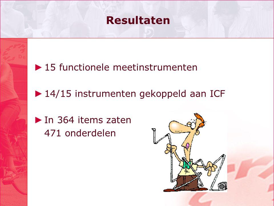 Resultaten 15 functionele meetinstrumenten