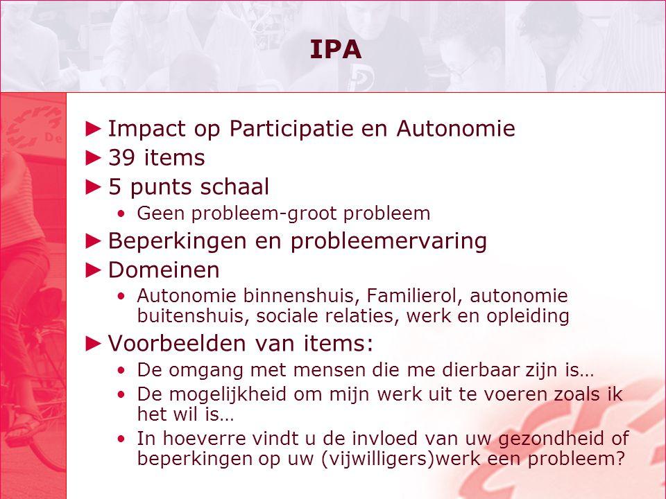 IPA Impact op Participatie en Autonomie 39 items 5 punts schaal
