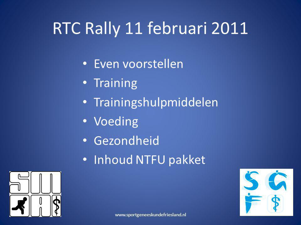 RTC Rally 11 februari 2011 Even voorstellen Training