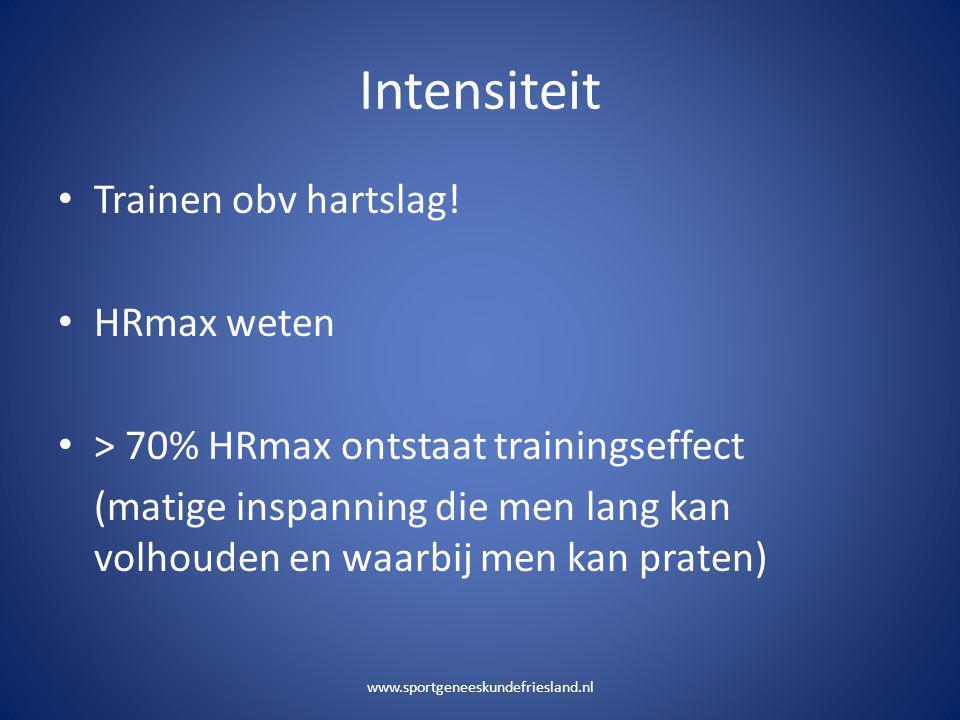 Intensiteit Trainen obv hartslag! HRmax weten