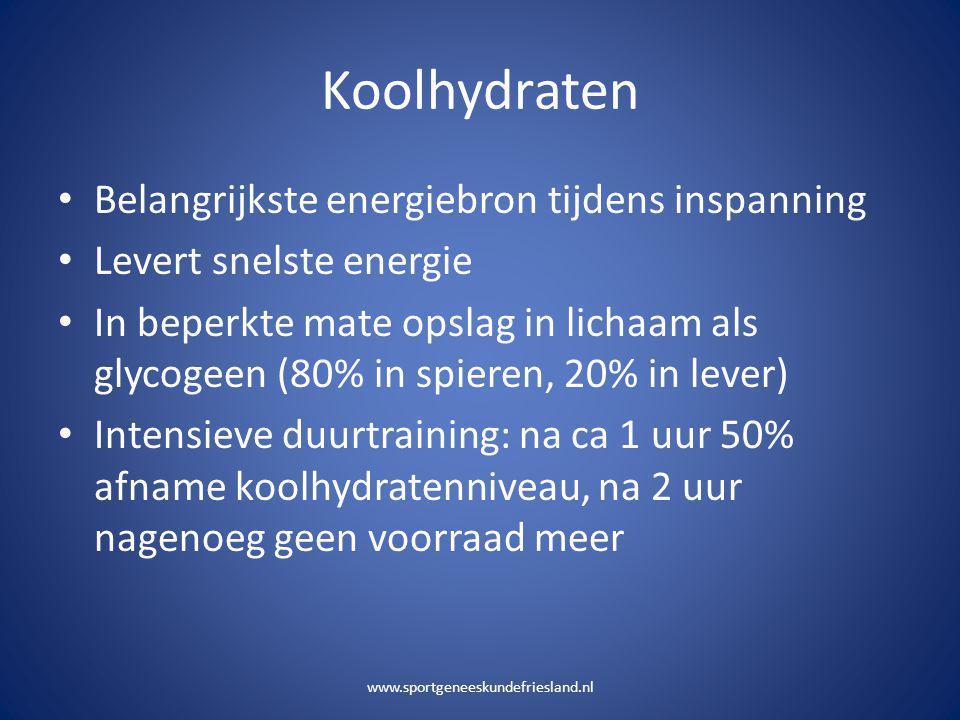 Koolhydraten Belangrijkste energiebron tijdens inspanning