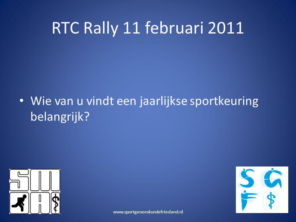 RTC Rally 11 februari 2011 Wie van u vindt een jaarlijkse sportkeuring belangrijk.