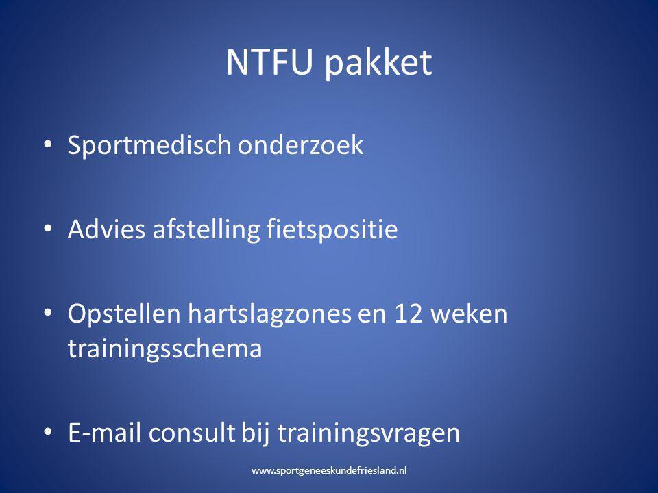 NTFU pakket Sportmedisch onderzoek Advies afstelling fietspositie