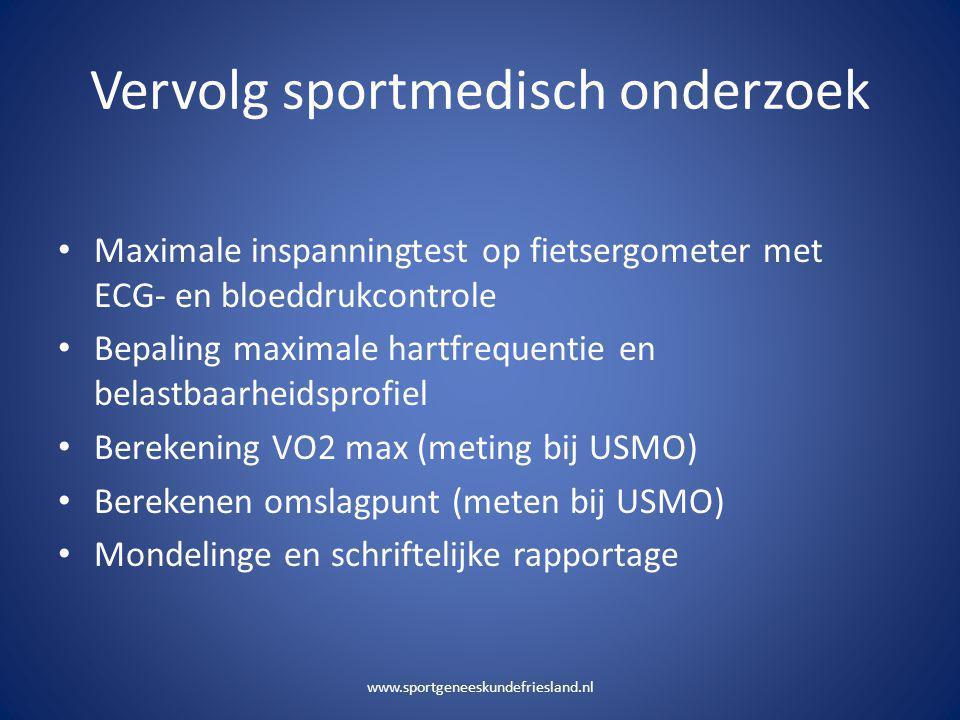 Vervolg sportmedisch onderzoek