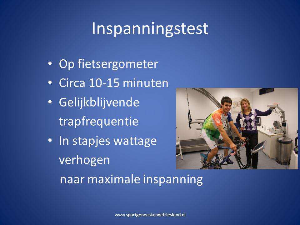 Inspanningstest Op fietsergometer Circa 10-15 minuten Gelijkblijvende