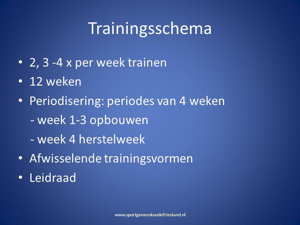 Trainingsschema 2, 3 -4 x per week trainen 12 weken