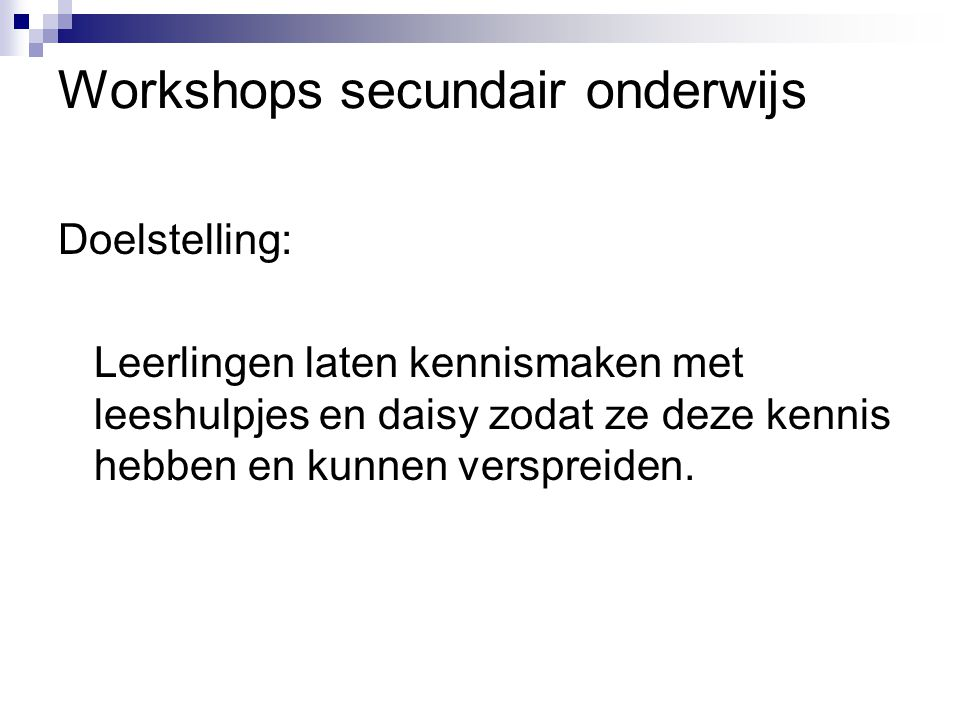 Workshops secundair onderwijs