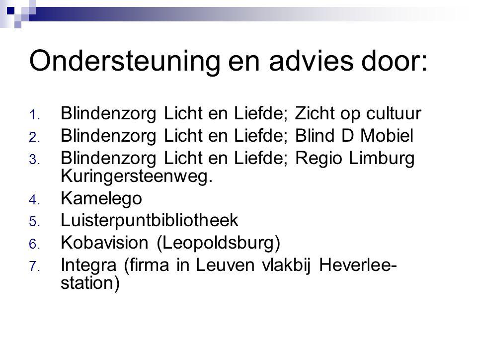 Ondersteuning en advies door: